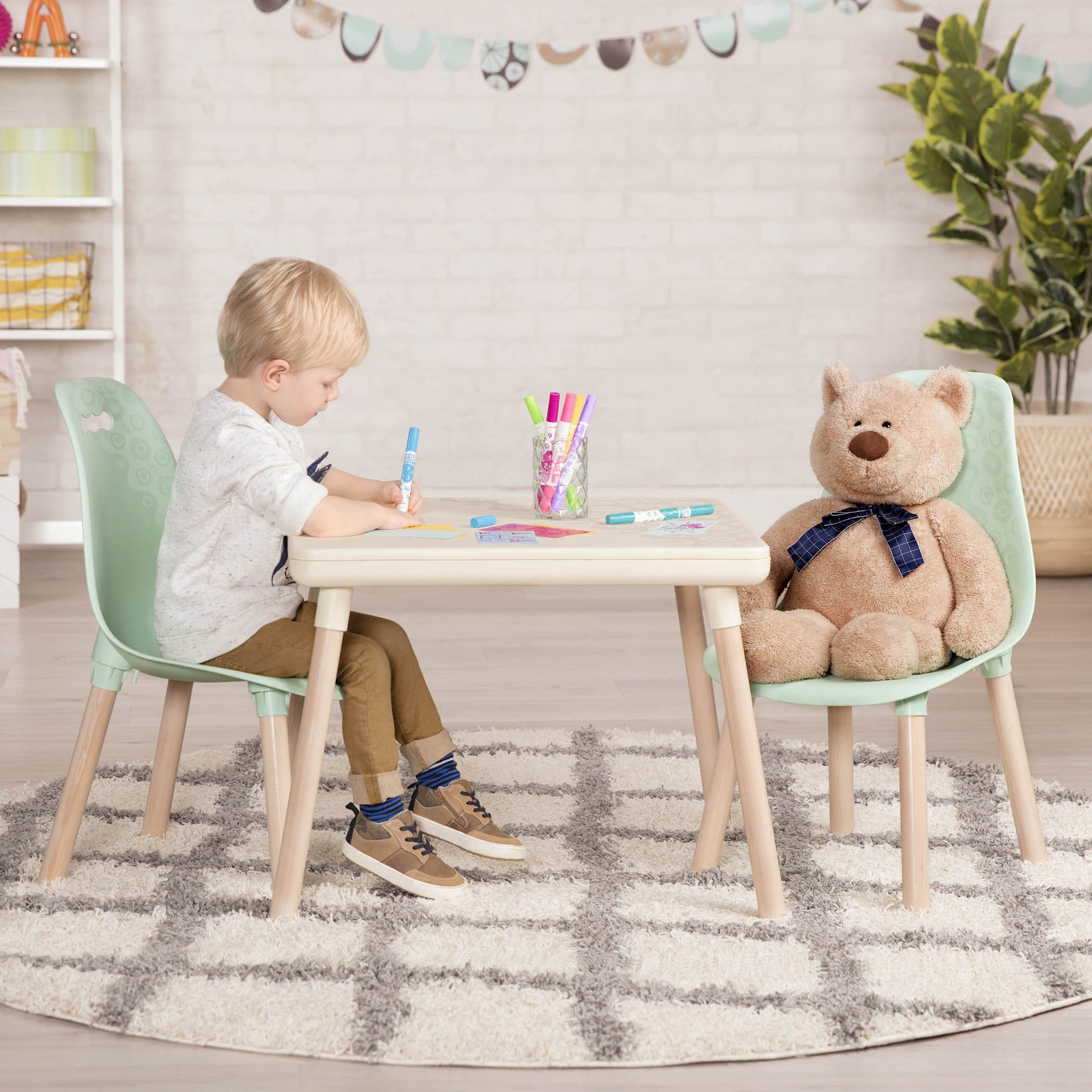 B toys – Kids Furniture Set – 1 Craft Table & 2 Kids Chairs with Natural Wooden Legs (Ivory and Mint) by B. spaces by Battat (Image #5)