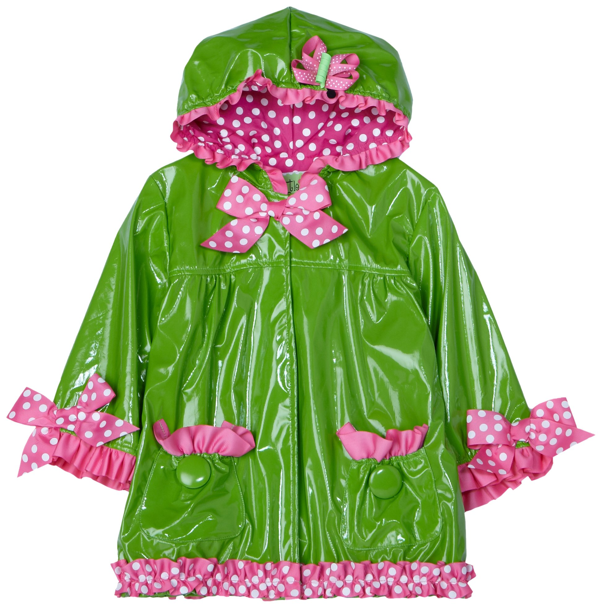 Mud Pie Baby Little Sprout Patent Leather Rain Coat, Green, 12   18 Months by Mud Pie