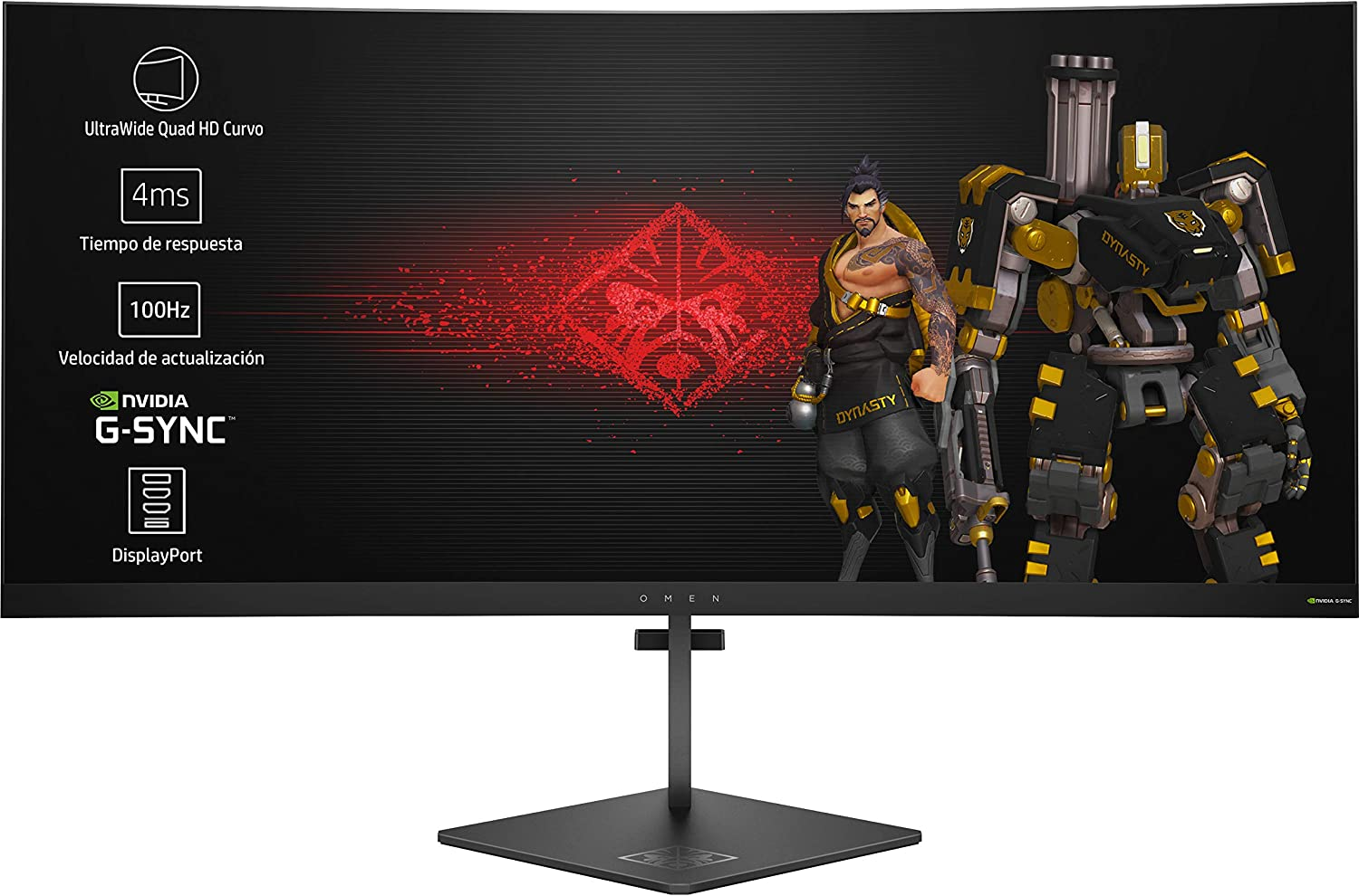 HP OMEN X 35 - Monitor Gaming para PC Desktop G-sync  + Altura Ajustable de 88.90 cm (35 pulgadas, 300 cd/m², 3440 x 1440 pixeles, 4 ms, LED, UltraWide Quad HD)