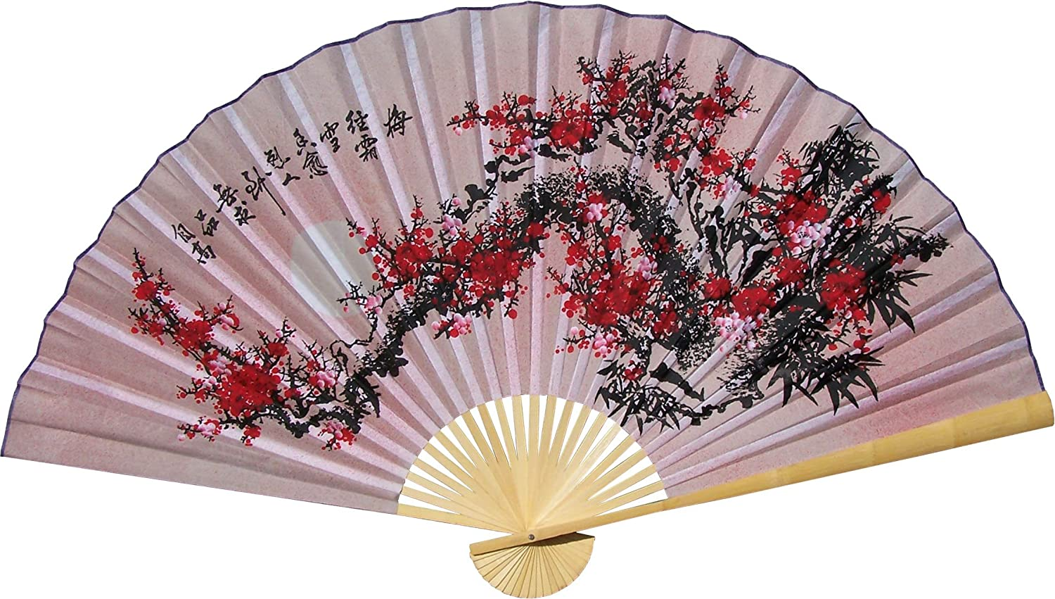 "Large 60"" Folding Wall Fan - Purity Blossoms - Original Hand-painted"