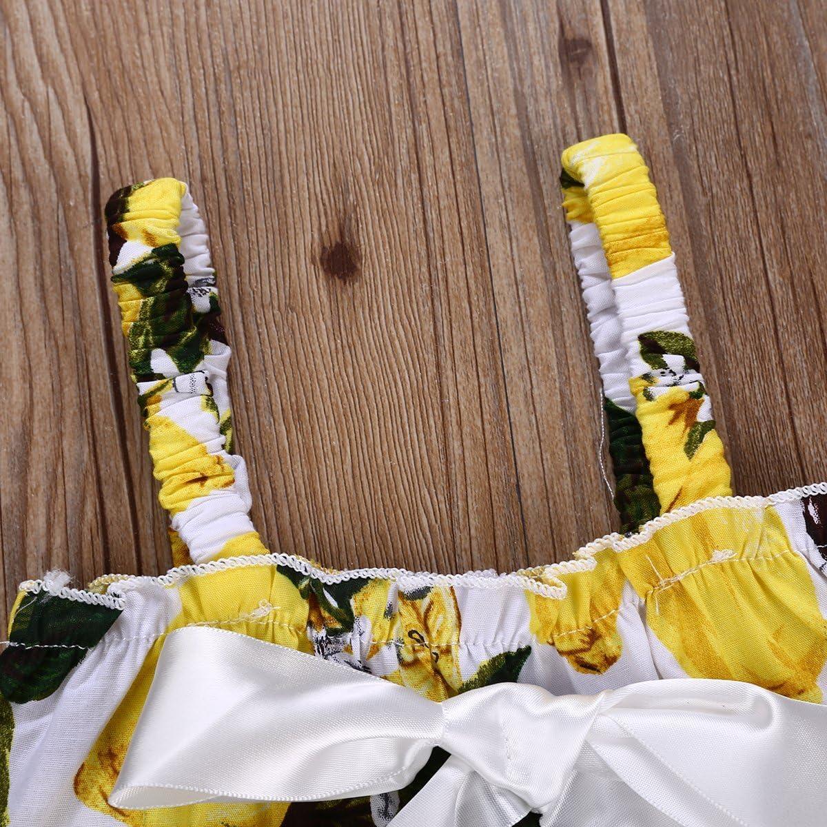 Infant Baby Girls Sleeveless Bowknot Lemon T-Shirt Tops+Shorts Pant Strap Outfit Sets