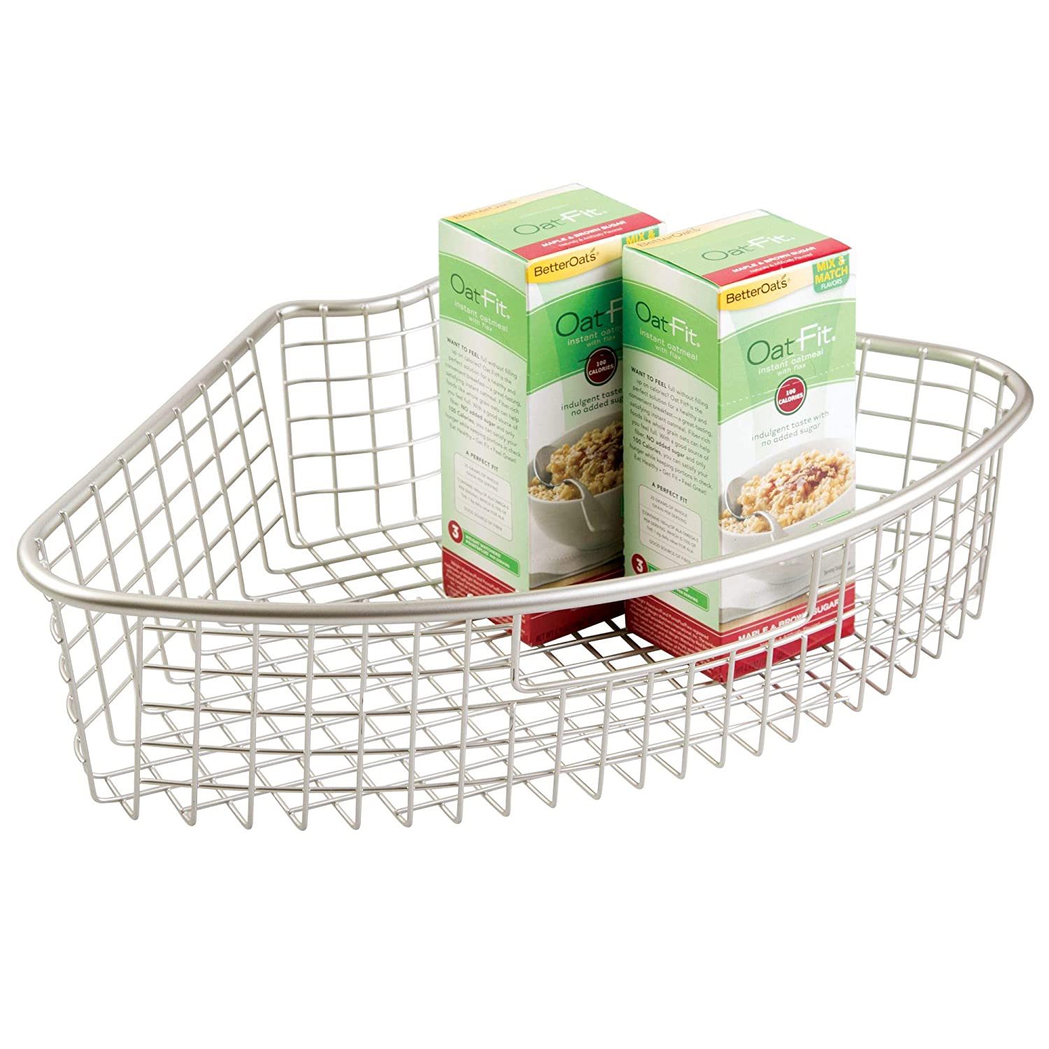 InterDesign Forma Lazy Susan Storage Basket with Handle – Organizer for Pantry or Kitchen Corner Cabinet Shelves - 1/4, Satin