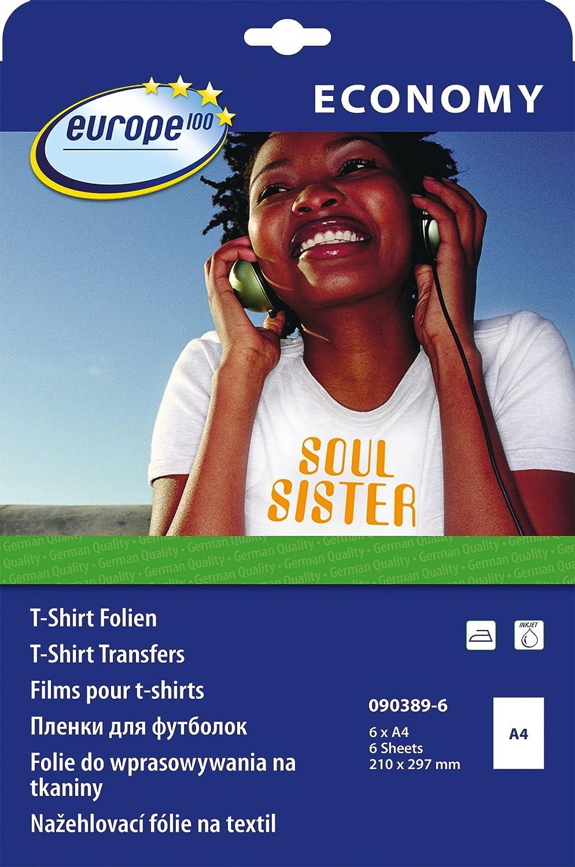europe100 090389-6 T-Shirt Transferfolien für helle Textilien (A4, 6 Blatt) weiß 6 Blatt) weiß Avery Zweckform