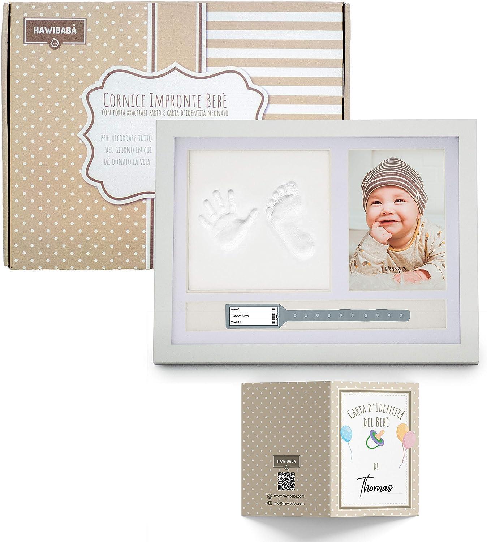 Marco de Huellas Manos y Pies Recién Nacidos - Portafotos de Mesa, Alginato para Moldes, Pulseras Nacimiento de la Madre y el Bebé - Tarjeta de Identidad del Bebé como Regalo Hawibaba