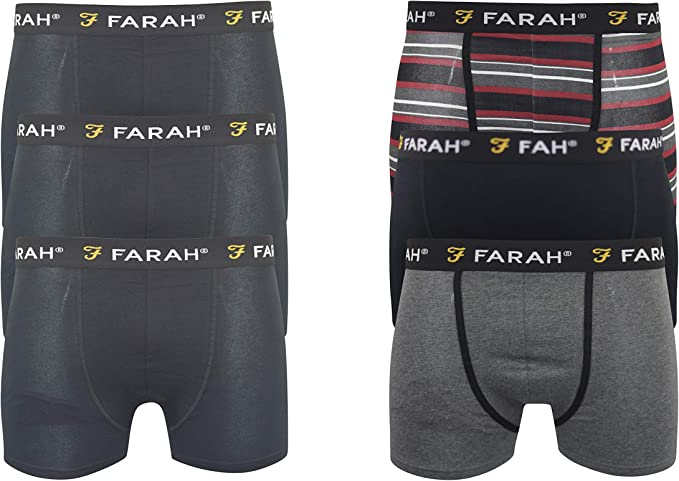 Farah Mens Boxers Shorts Multipacked 6 Pack Underwear Gift Set 6 ...