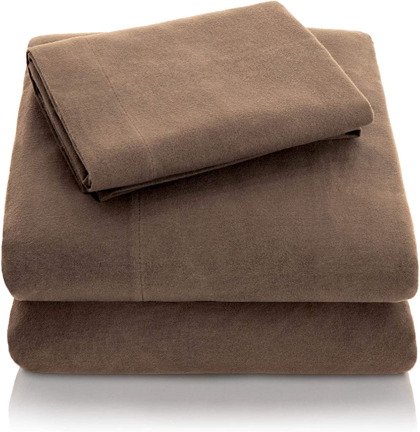 Amazon Com Malouf Heavyweight Portuguese Flannel Sheet Set 100 Cotton Pill Resistant Bedding California King California King Coffee Home Kitchen