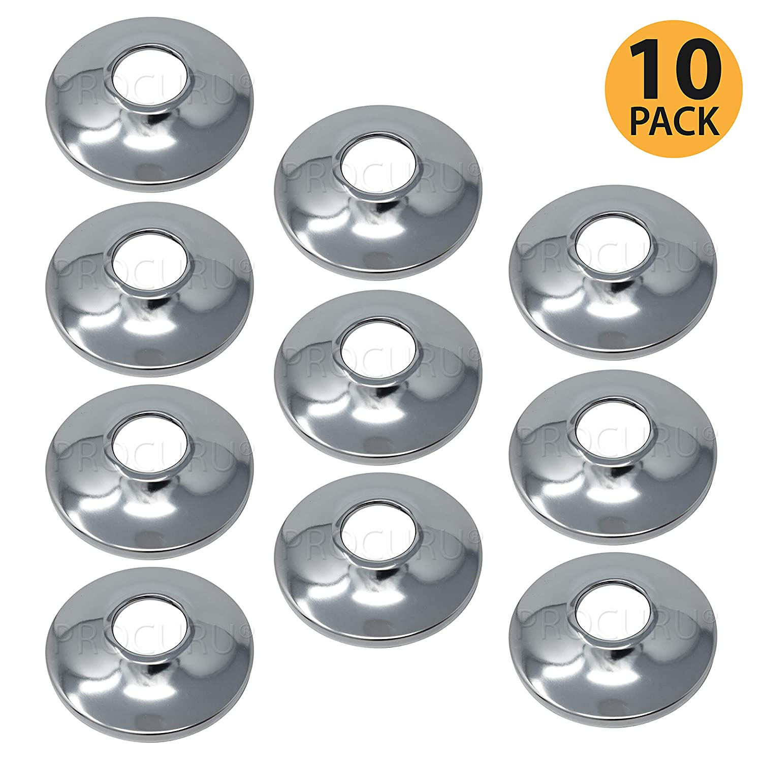 """[10-Pack] PROCURU 1/2-Inch CTS Escutcheon Flange Plate Pipe Cover, Chrome-Plated Steel with SureGrip, for 1/2"""" Copper Pipe"""
