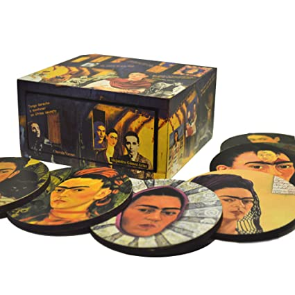 Caja con 6 portavasos de madera hecha a mano, homenaje a Frida Khalo