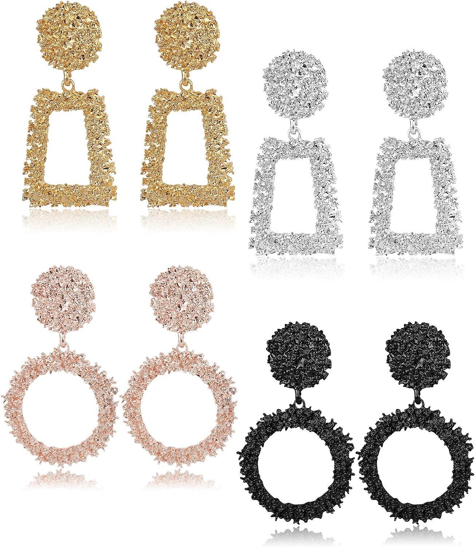Finrezio 4 Pairs Metal Statement Earrings for Women Teen Girls Raised Design Large Rose Gold Black Silver Gold Geometric Drop Earrings