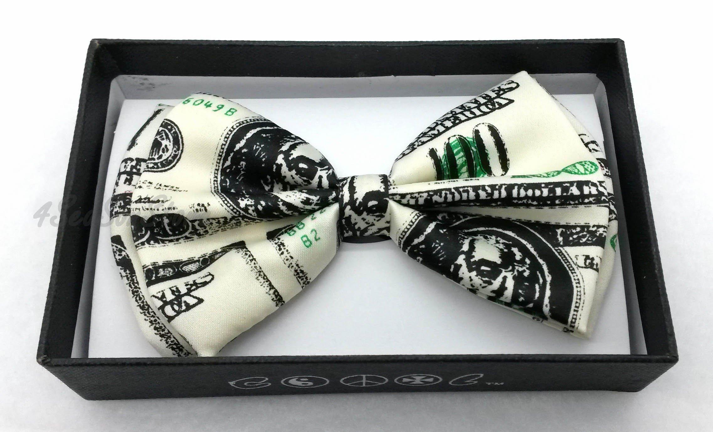 Color Tuxedo Classic Bow Tie, Cravat, Necktie, Neckwear Adjustable Men's Fashion Bowtie - Money