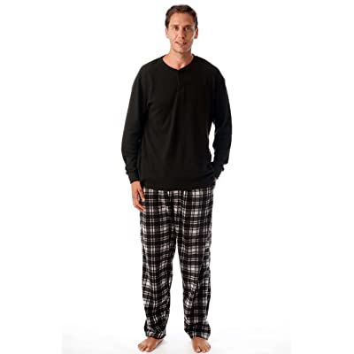 #followme Pajama Set for Men with Thermal Henley Top and Polar Fleece Pants at Amazon Men's Clothing store