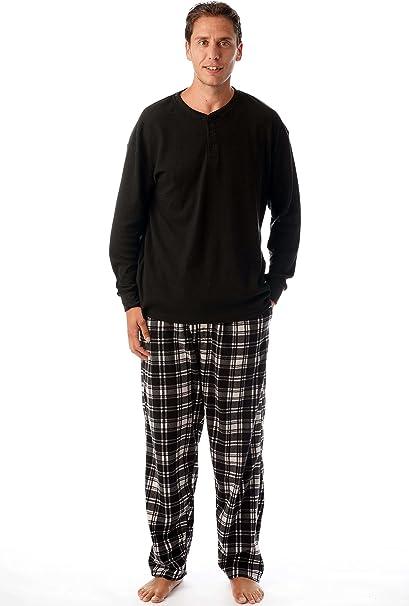 Hombre Set Pijama Top de manga larga y pantalones pijama de algod/ón NUEVO Negro X-Large