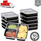 MAYMII Food Storage / Meal Prep Containers with Lids (3 Compartment) (20 Pack) - Portion Control Bento Lunch Box / BPA Free / FDA Approved / Dishwasher, Microwave, Freezer Safe