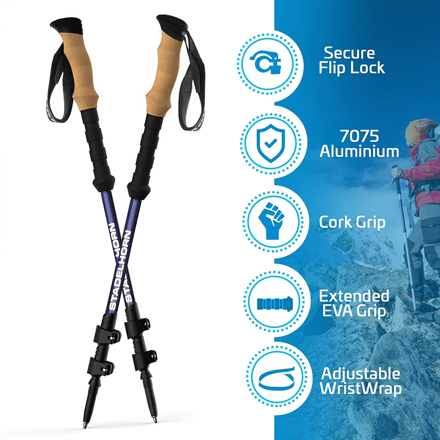 Stadelhorn – Hiking Trekking Poles Collapsible Adjustable Aluminum Telescopic Walking Sticks with Quick Release Locks, Cork Ergonomic Grips, Multiple Attachments Carrying Bag – 2 pcs Set