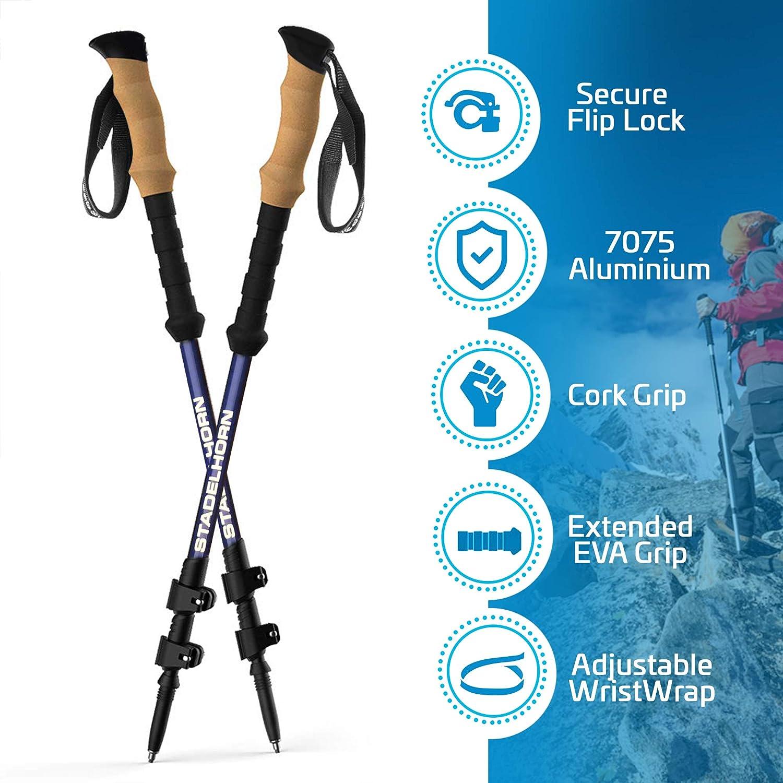 Stadelhorn – Hiking Trekking Poles Collapsible Adjustable Aluminum Telescopic Walking Sticks with Quick Release Locks, Cork Ergonomic Grips, Multiple Attachments Carrying Bag – 2 pcs Set