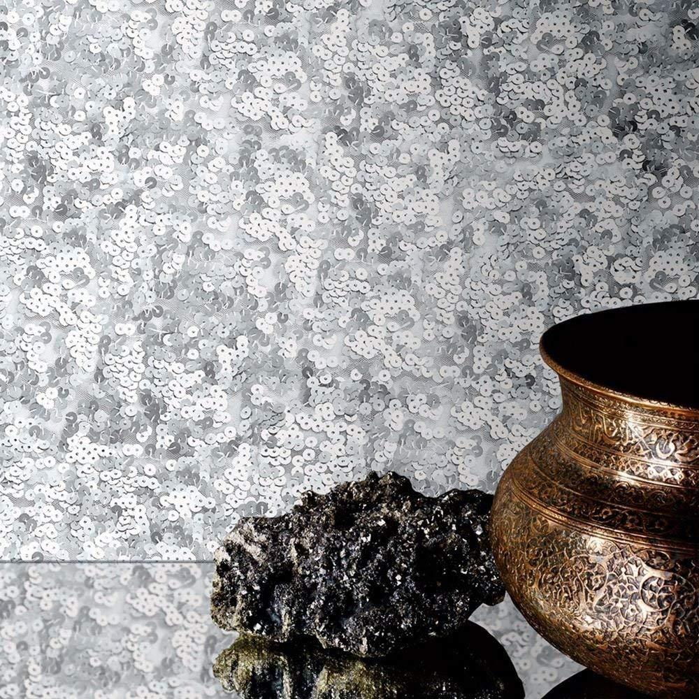 Muriva Lipsy Londres Lentejuelas Purpurina Sparkle Brillo Papel Pintado de Lujo No Tejido 10m Rollo Plata 144001