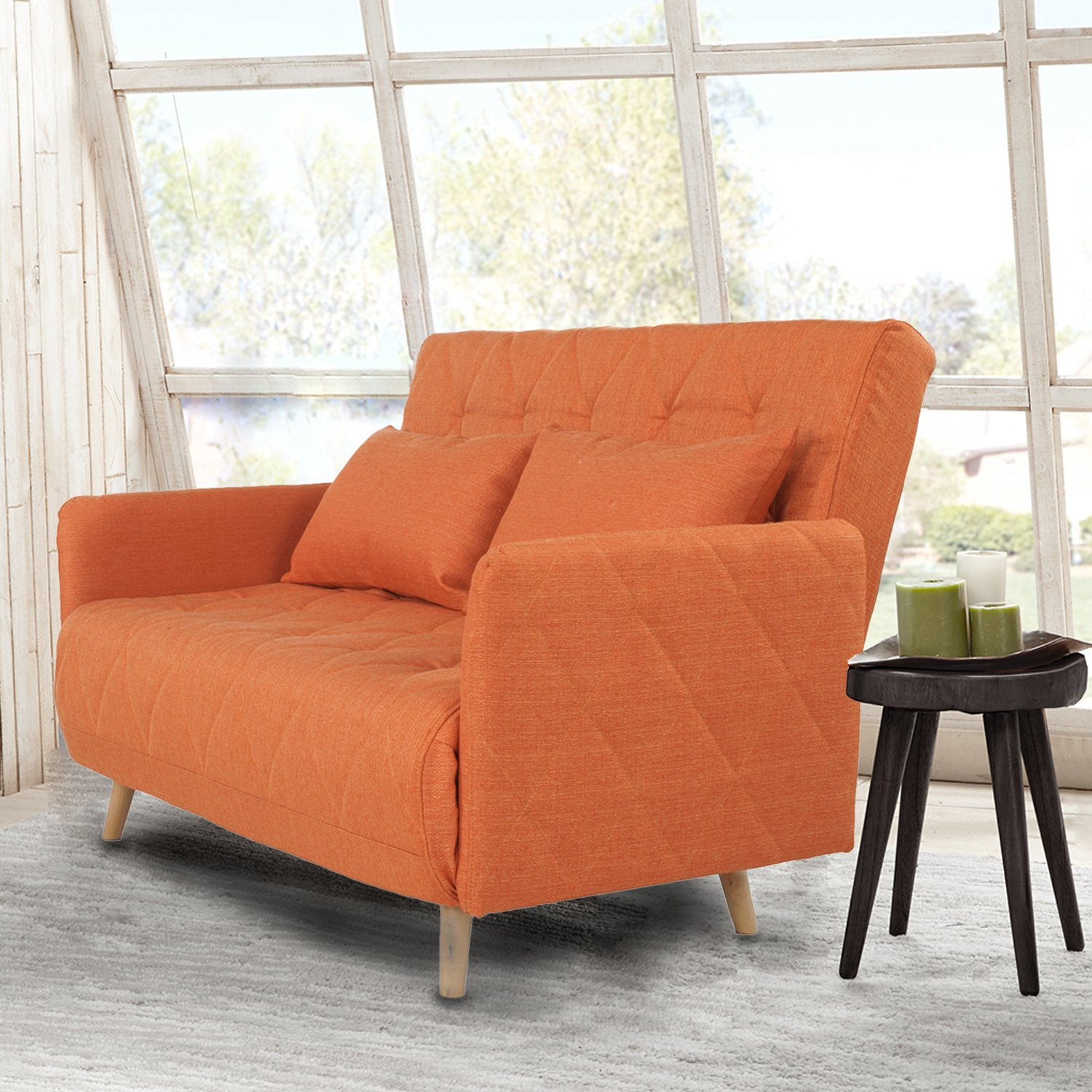 Amazon Adeco Fabric Fiber Sofa Bed Sofabed Lounge with Arm