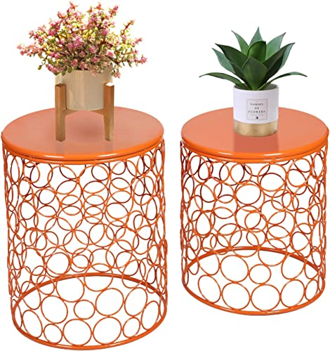 Joveco Set of 2 Indoor Outdoor Round Side End Coffee Table Nightstands Set of 2 Orange