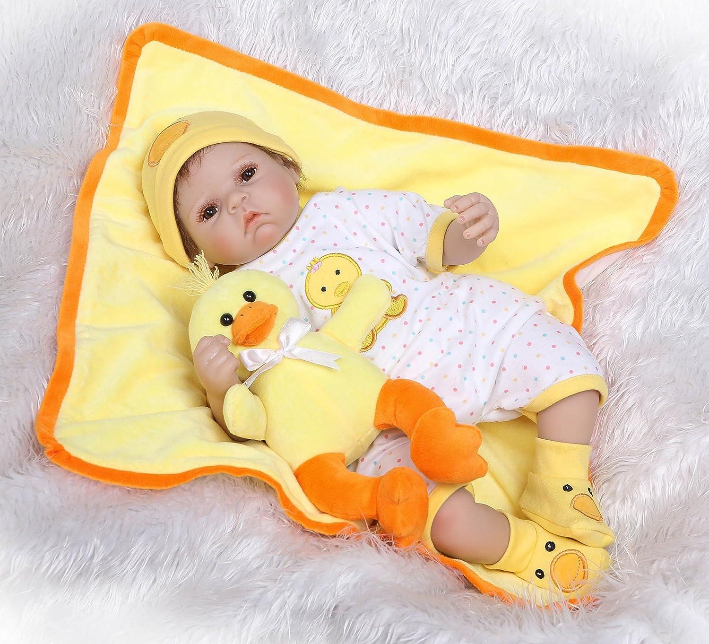 """面白い家22 """" 55 cmハンドメイドReborn Toddler人形Lifelike RealisticソフトVinylシリコンに似Adorable Baby Newborn Doll Real Gentle Touch誕生日Xmas Present Bedtime Play for Age 3 +   B07DJ4934R"""
