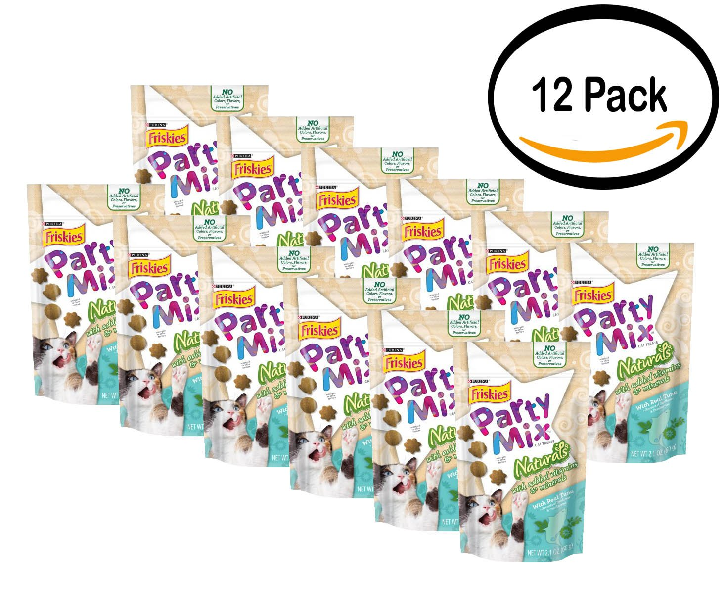 Pack of 12 - Purina Friskies Party Mix Cat Treats Naturals With Real Tuna, 2.1 OZ
