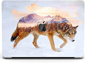Wonder Wild Case for MacBook Air 13 inch Pro 15 2019 2018 Retina 12 11 Apple Hard Mac Protective Cover Touch Bar 2017 2016 2020 Plastic Laptop Print Winter Wolf Animal Tree Mountain Snowy Forest View