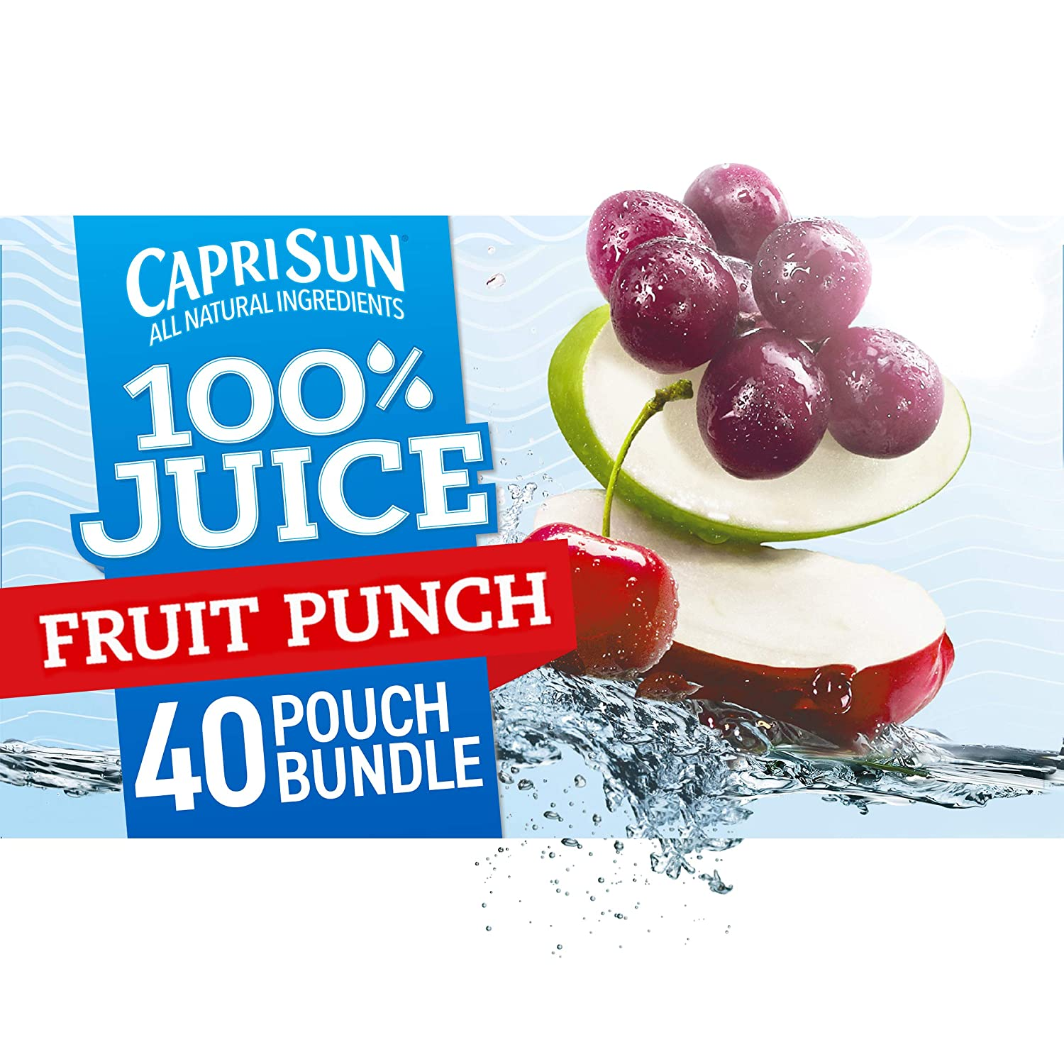 Capri Sun Fruit Punch Ready-to-Drink 100% Juice (40 Pouches, 4 Boxes of 10)
