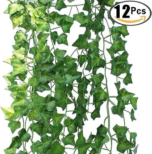 12 hebras artificiales de hiedra artificial para colgar plantas para bodas, fiestas, jardín, decoración de pared: Amazon.es: Hogar
