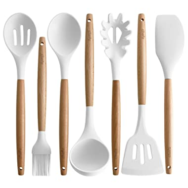 Silicone Cooking Utensils | Wooden Handle, Non-Stick Cookware Heat Resistant Kitchen Utensil Spatula, Slotted & Solid Spoon, Soup Ladle, Slotted Turner and Spaghetti Server,| (White)