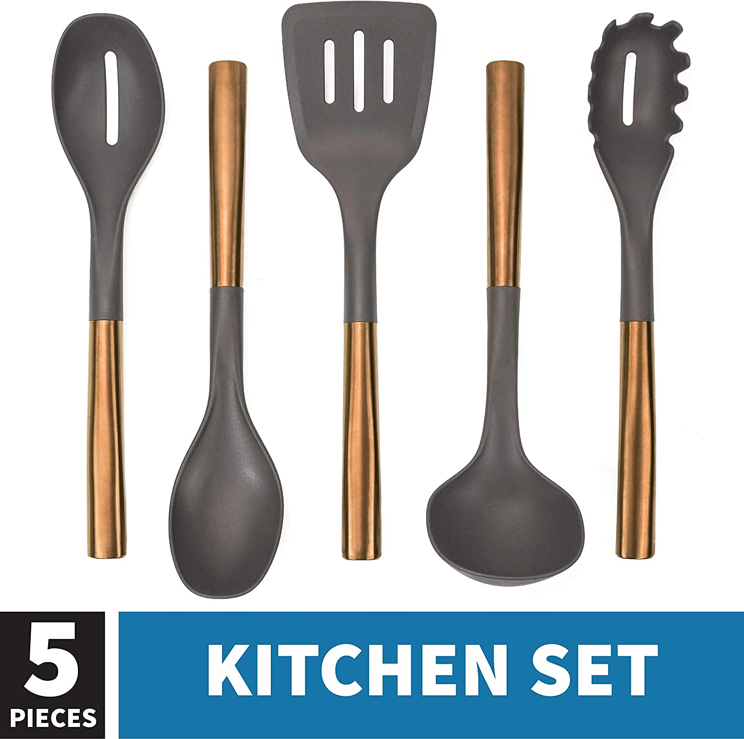 536201 Copper Plated Kitchen Set, Nylon Cooking Utensils for Chefs, Non-Stick Safe, 5 Piece