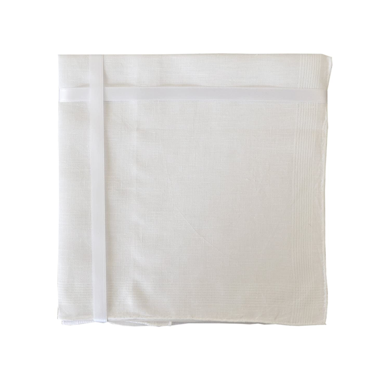 3 Pack Womens/Ladies 100% Irish Linen Handkercheifs White With Stitched Borders In & Gift Box