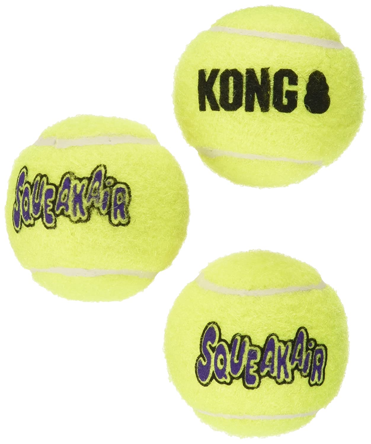 KONG3 Piece Air Squeaker Tennis Balls (3 Pack), Small AST3-3