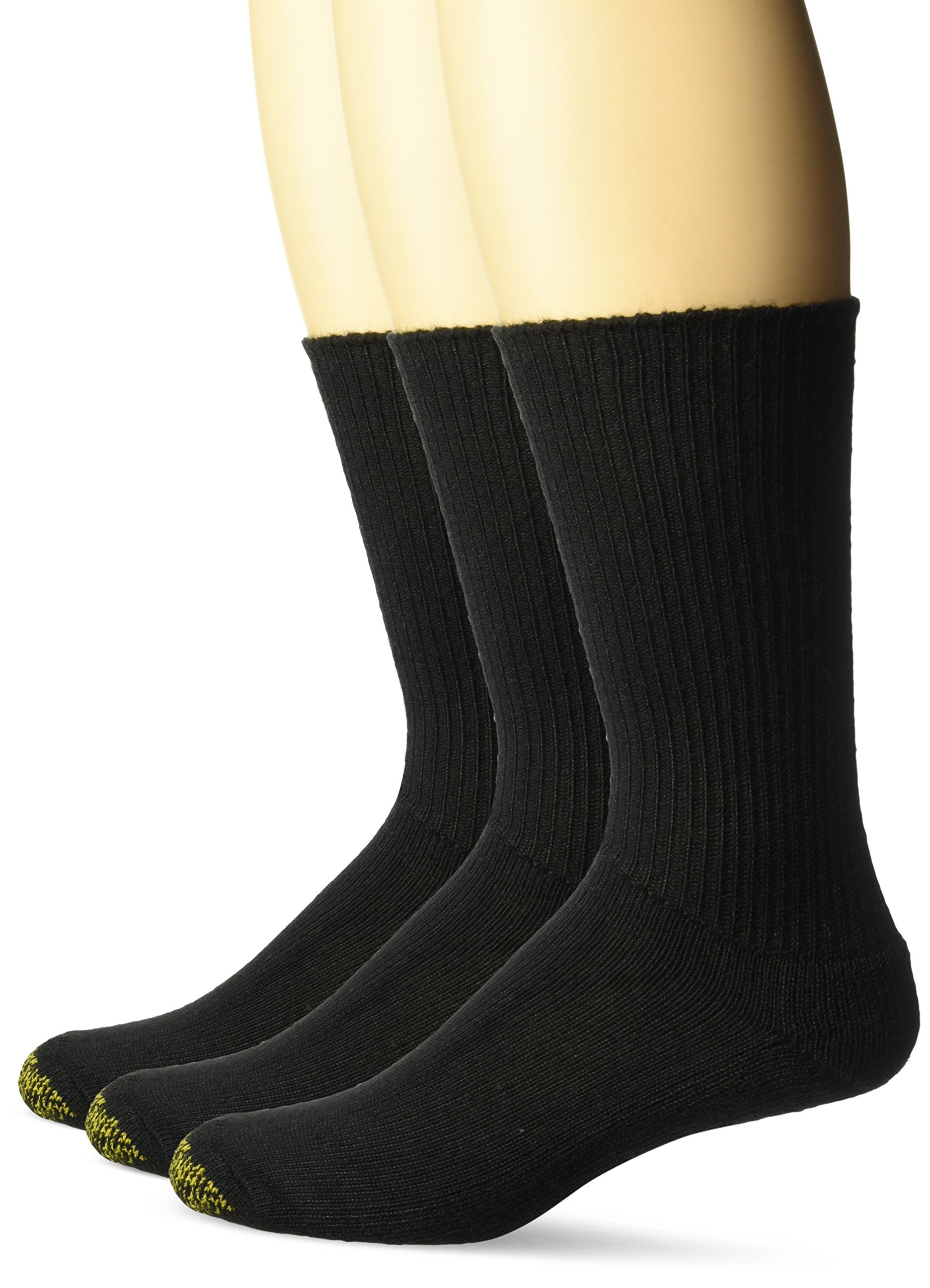 Gold Toe Men's Cushion Foot Fluffies Sock - One Size - Black, 3-Pack