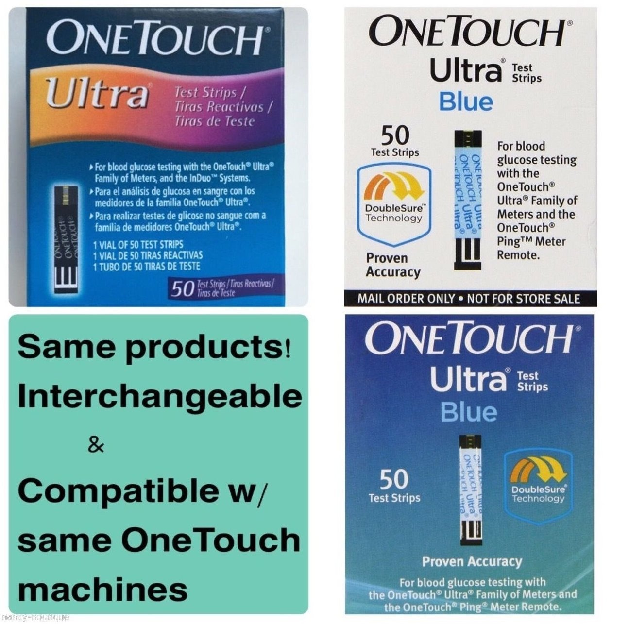 One Touch Ultra 3 Language English, Spanish and Portuguese Test Strips, 50 Count, 3 Pack