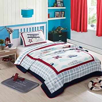 Amazon.com: NEWLAKE Airplane Bedding Quilt Set for Kids, 2 Pieces ... : bedding quilt sets - Adamdwight.com