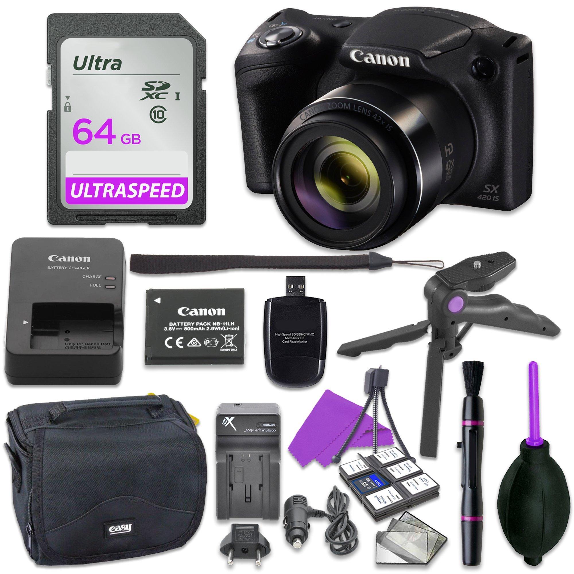 Canon Powershot SX420 Point & Shoot Digital Camera Bundle w/ Tripod Hand Grip , 64GB SD Memory , Case and More (Black)