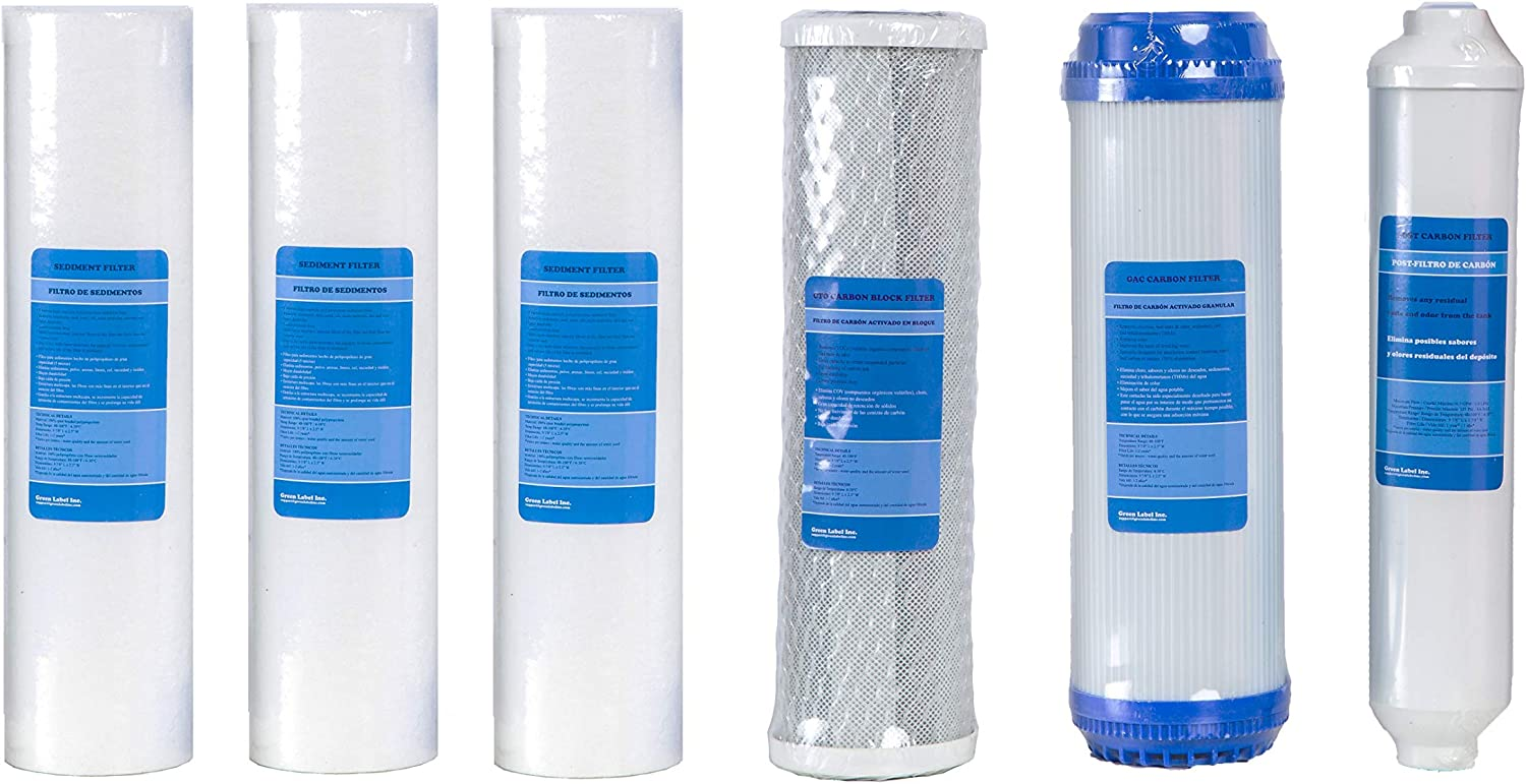 Green Label Universal 10 Inch Replacement Filter Set for Standard Multi-Stage Reverse Osmosis Water Filtration Systems: 3 PP Sediment, 1 GAC, 1 CTO Carbon Block, 1 Polishing Filters (6 Filters)