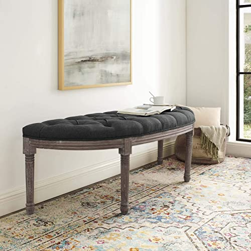 Modway Esteem Vintage French Upholstered Fabric Semi-Circle Entryway Bench in Gray