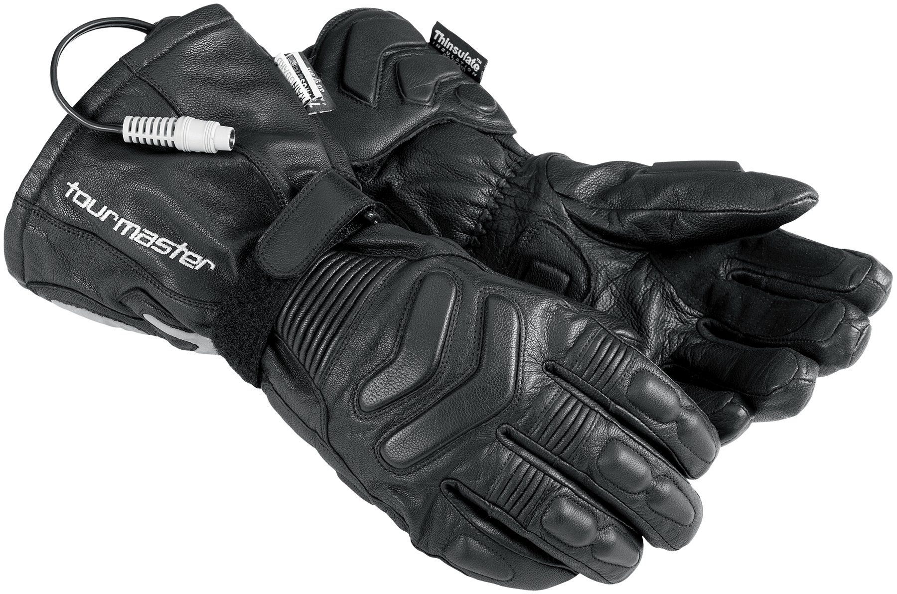 Tour Master Synergy 2.0 Electrically Heated Mens Leather Street Racing Motorcycle Gloves - Black / 4X-Large