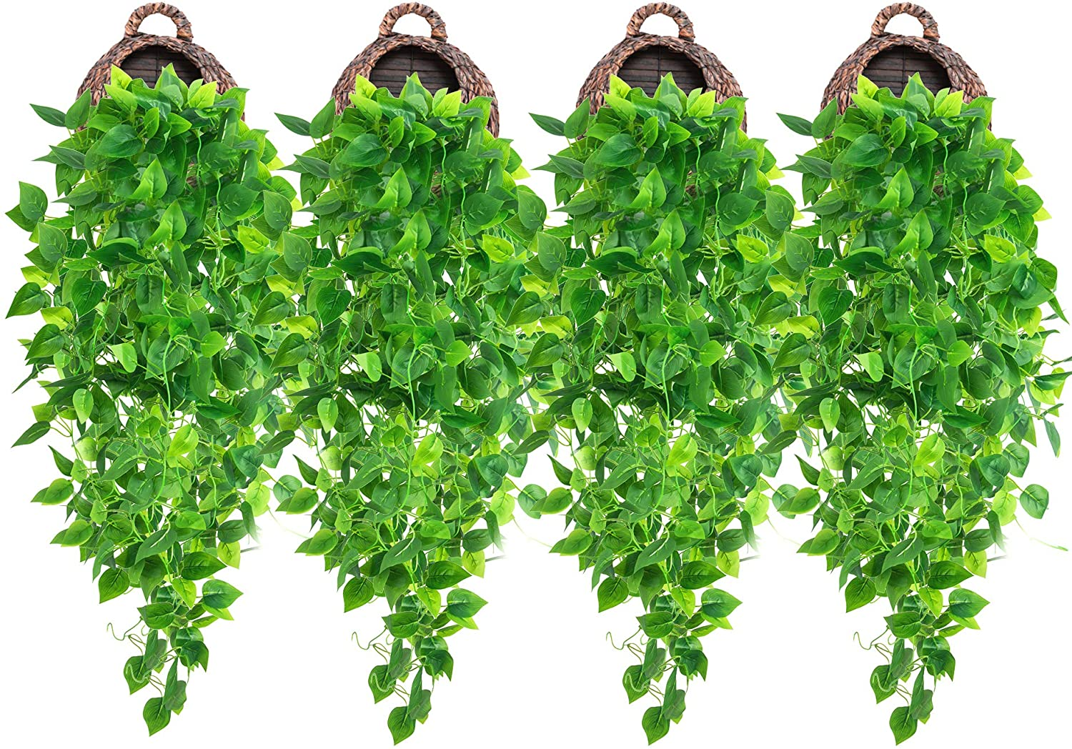 4 Pcs Artificial Hanging Plants 3.6ft Fake Ivy Vines, Fake Ivy Leaves Hanging Plant Wall Plants for Wall Decor Home Garden Wedding Party Indoor Outdoor Decoration (Basket Not Included)