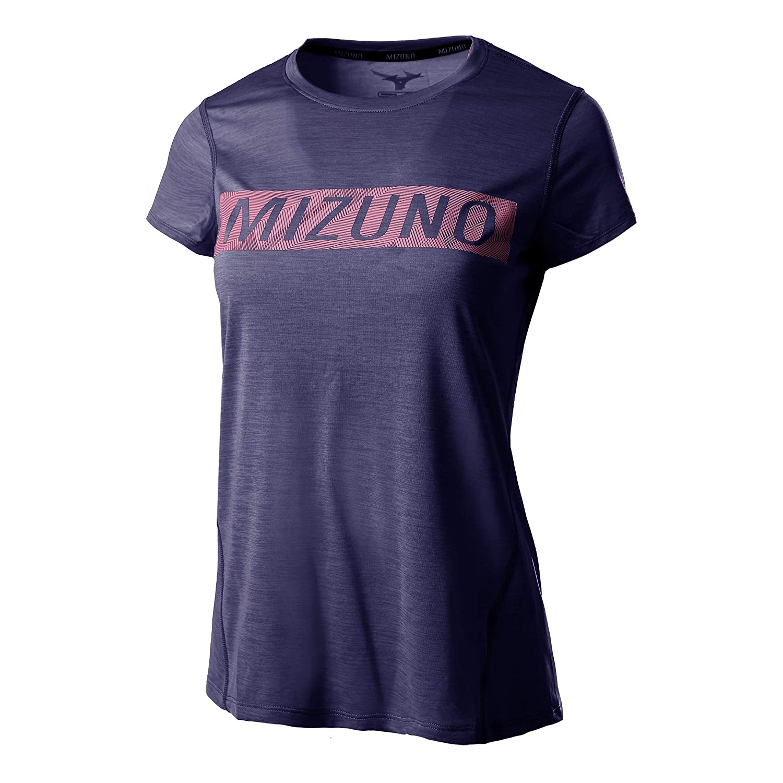Mizuno Damen Impulse Core Graphic Tee Laufbekleidung T-Shirt Dunkelblau - Rosa L