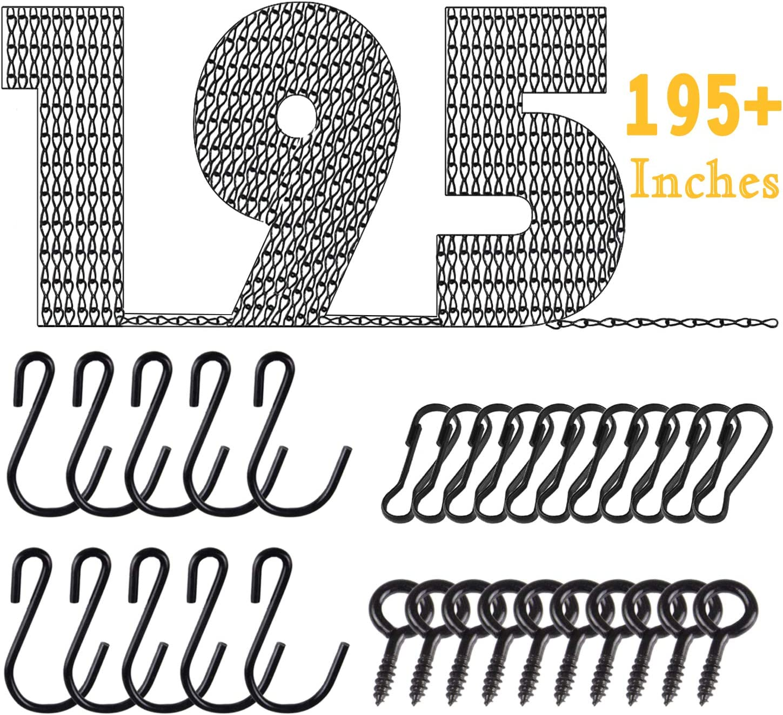 Retro Iron Art Hanging Chain, JUNBEI DIY 195 Inches Adjustable Black Chain Anti-Rust Paint Multi-Purpose Plant Hanging Chain for Hanging Plants, Wild Bird Feeders, Billboards and Decorative Ornaments
