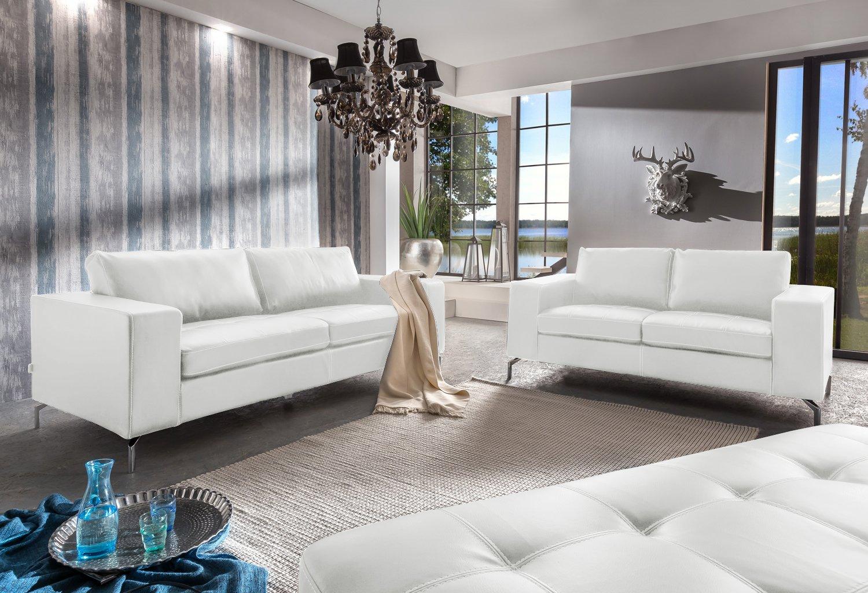 SAM® Sofa Garnitur Belair 2tlg. in weiß Sofalandschaft mit edlen Metallfüßen bestehend aus 1 x 2-Sitzer, 1 x 3-Sitzer und 1 x Hocker, pflegeleichte Oberfläche, angenehmer Sitzkomfort, hochwertige Taschenfederung, Lieferung per Spedition