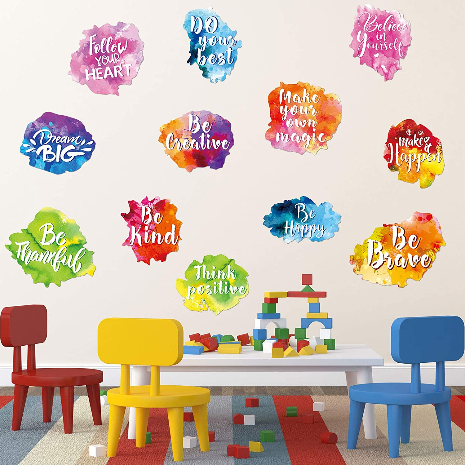 6 Pieces Colorful Inspirational Wall Decal Watercolor Inspirational Quote Wall Sticker Motivational Lettering Sticker for Home Bedroom Bathroom Kitchen Classroom Playroom Kids Decor