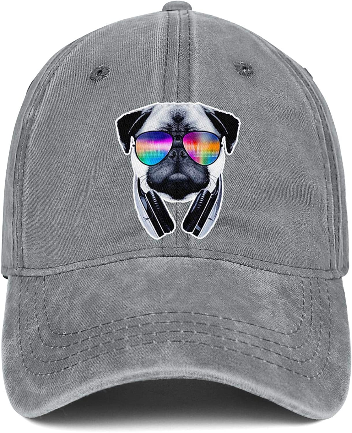 Pugs Sunglasses Cool Music Puppies Unisex Baseball Cap Ultra Thin Sport Baseball Caps Adjustable Trucker Caps Dad-Hat