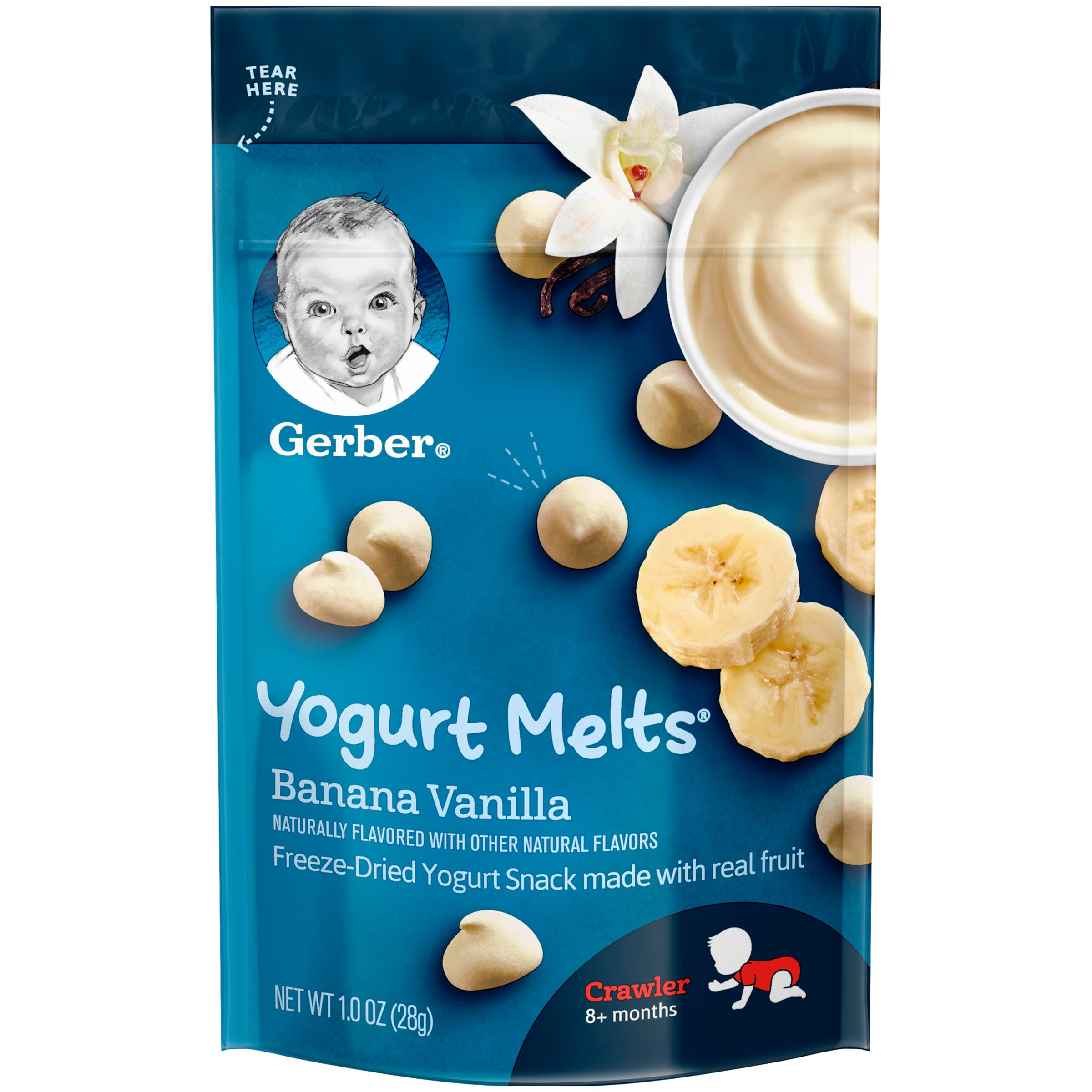 Gerber Yogurt Melts Freeze-Dried Yogurt Snack made with real fruit, Banana Vanilla, 1 oz (Pack of 7)