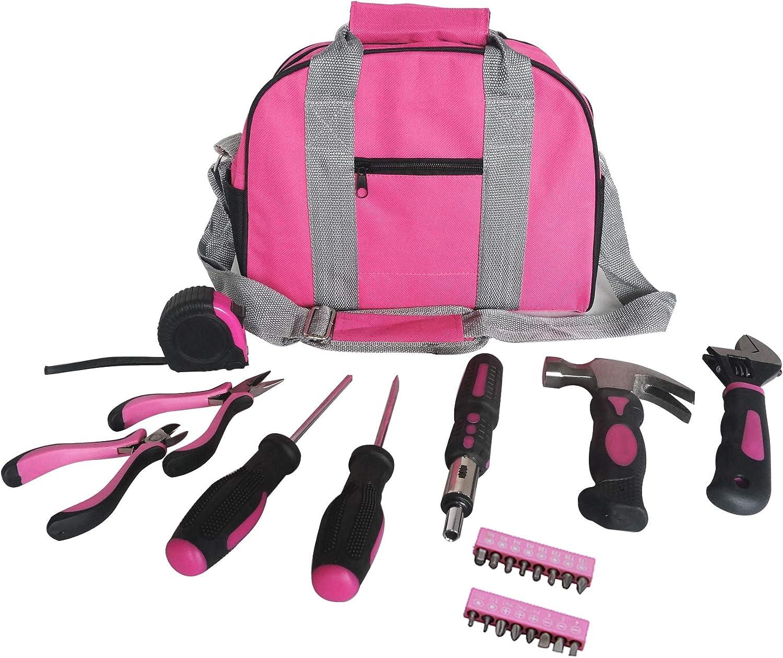 Señoras Pink Tool Kit bolsa de herramientas DIY conjunto incluye ...