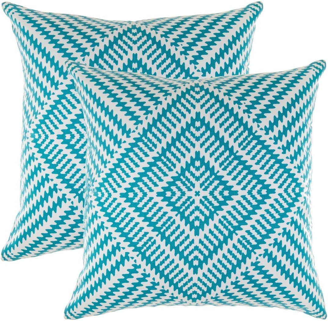 TreeWool (Pack of 2 Decorative Throw Pillow Covers Kaleidoscope Accent 100% Cotton Cushion Shams Cases (20 x 20 Inches / 50 x 50 cm; Turquoise)