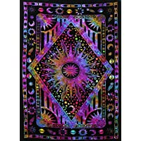 THE ART BOX Tapestry Hippie Star Wall Tapestry Sun and Moon Tapestries Wall Hanging Twin Size Tapestries Cotton Wall Blanket Hippie Indian Home Décor Boho Tapestry 85x55 inch Décor