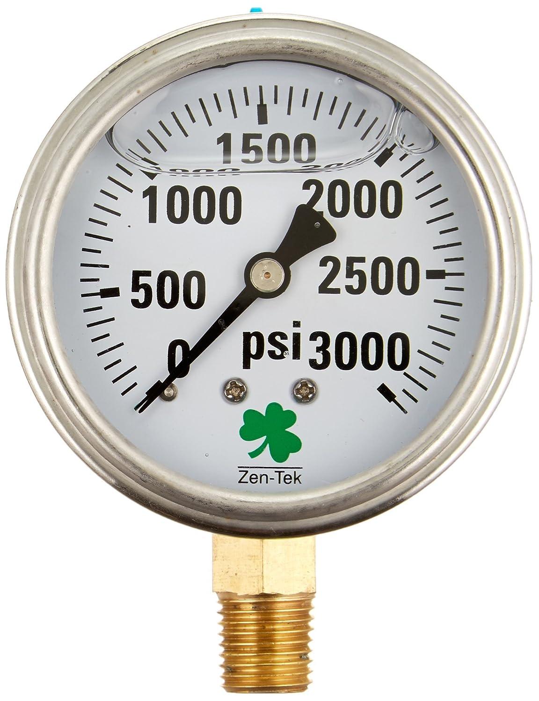 Zenport LPG100 Zen-Tek Glycerin Liquid Filled Pressure Gauge, 100 PSI, Box of 10 LPG100-10