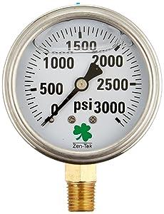 Zenport LPG3000 Zen-Tek Glycerin Liquid Filled Pressure Gauge, 3000 PSI